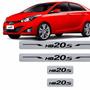Kit Soleira Adesiva Hyundai Hb20s Textura Aço Escovado