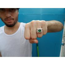 Anel Lanterna Verde Pedra Rubi Sintética Aro 23