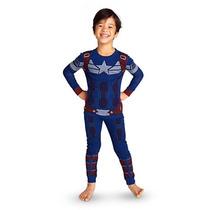 Pijama Capitao America Infantil Oficial Disney Store 5 Anos