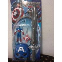 Capitão America Espada(luz E Som) + Boneco +mascara - Fret16