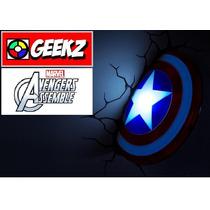 Luminária 3d Light Fx Escudo Capitão América Avengers Ass...