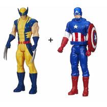 Boneco Marvel Titan Hero Series Wolverine + Capitão América