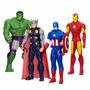 Kit C/ 4 Avengers Vingadores 30 Cm Hulk Captain Thor Iron
