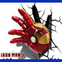Luminária 3d Mão Homem De Ferro Iron Man Avengers Vingadores