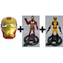 2 Bonecos Heróis (homem De Ferro, Wolverine) + Mascara