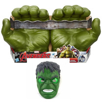 Luvas Do Incrível Hulk Avengers + Máscara Com Luz Piscante