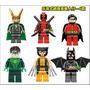 Tipo Lego Wolverine, Deadpool, Batman, Robin, Loki, Lanterna