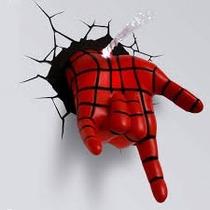 Mão Homem Aranha Vai Teia Luminária 3d Light Fx Avengers