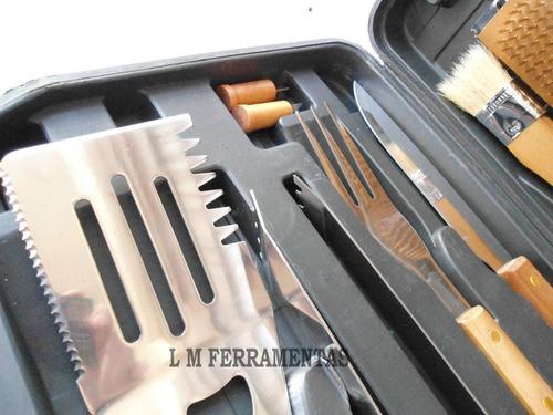 Super Kit De Churrasco 18pçs C/ Maleta Garfo Faca Espetos