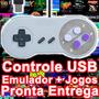Controle Usb Pc Snes - Super Nintendo + Emulador E Jogos