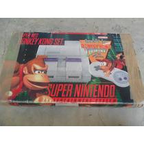 Super Nintendo Edição Donkey Kong - 3 Cartuchos E 1 Controle