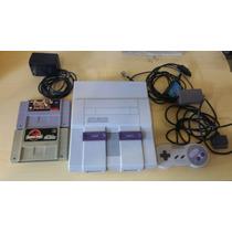 Super Nintendo Revisado + 1 Controle + 2 Jogos + Fonte Cabo
