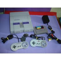 Super Nintendo Com 2 Controles , Cabo Av E 1 Fita
