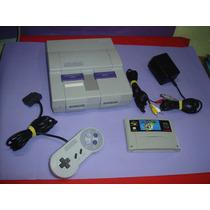 Super Nintendo C/1 Controle Orig E Mario World Em Portugues