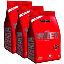Combo 3x Nutri Whey Protein Integralmédica 907g - Morango