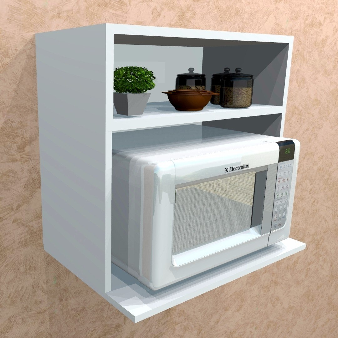 Suporte para microondas nicho p decora es branco 100 for Mueble de pared para microondas