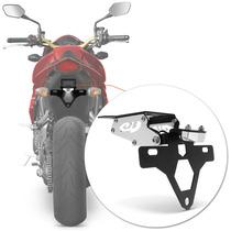 Suporte Placa Cb 1000 R Moto Led Articulado Prata Rabeta Luz