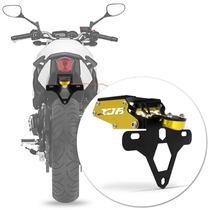 Suporte Placa Xj6 Moto Led Articulado Yamaha Dourado Rabeta