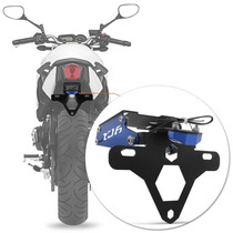 Suporte Placa Xj6 Moto Led Articulado Yamaha Azul Rabeta Luz