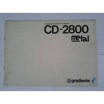 Manual Original Tape Deck Gradiente Cd 2800