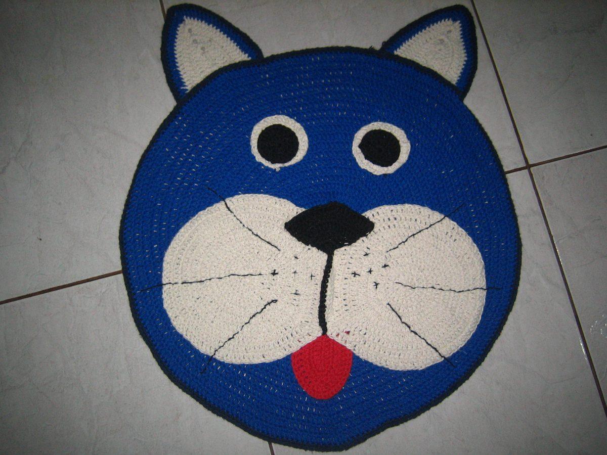 Tapete Barbante Croche Gato R$ 50 00 no MercadoLivre #0A2863 1200 900