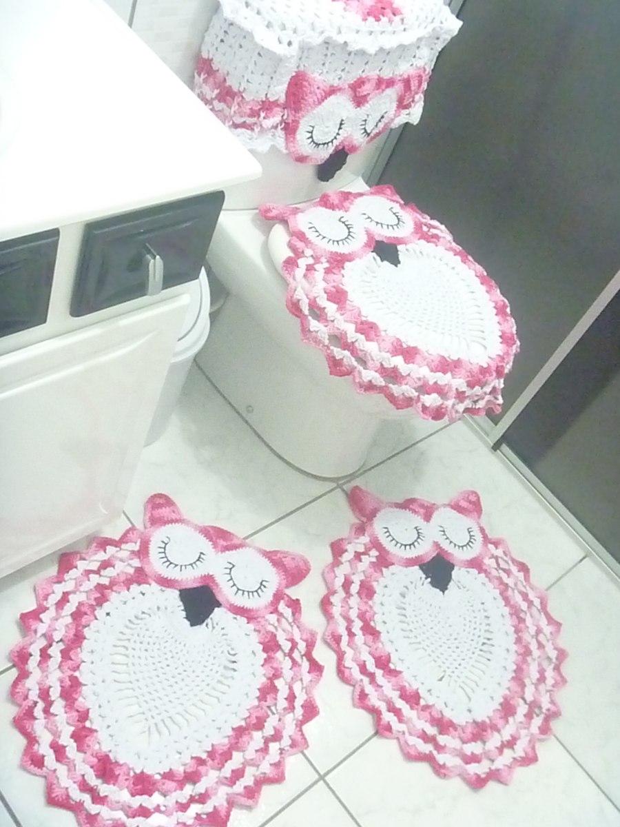 Tapete De Banheiro Feitos Em Croche,com Barbante Corujas  R$ 160,00 no Merca -> Tapete Para Banheiro Croche Simples