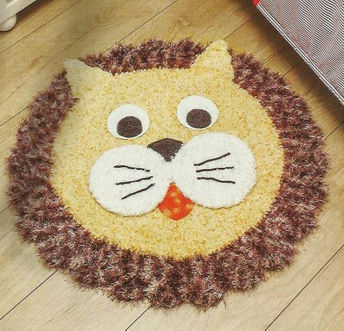 Tapete Infantil Leão De Croche R$ 62,00 no MercadoLivre ~ Tapetes Para Quarto Infantil Em Croche
