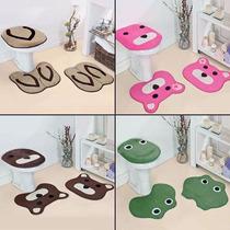 Jogo Tapete Banheiro 3 Peças Pelúcia Vários Modelos Formatos