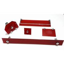 Kit Acessorios Banheiro Vb De Vidro 8mm Vermelho Branco
