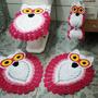 Tapete Crochê Banheiro Coruja