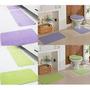 4 Kit Tapete Banheiro E Cozinha - Natura - Cor Lilás E Verde