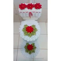 Jogo De Banheiro Crochê, Barbante Flores Frete Grátis