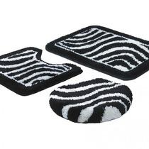 Jogo De Banheiro 3 Peças Linha Fina Arte Zebra Preto/branco