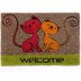 Capacho 2 Gatos Welcome 40x60cm Tapete Porta Hall De Entrada