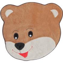 Tapete Infantil De Pelúcia Urso Carinho 67cm X 67cm Caramelo