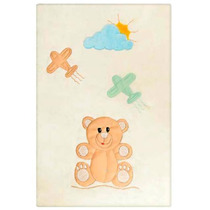 Tapete Urso Teddy Avião Talismã Decoração Quarto Bebe