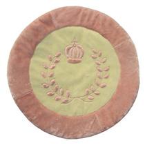 Tapete Coroa Provençal Rosa Chá Pelúcia Antialérgico 1,10m