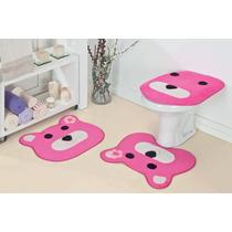 Jogo De Banheiro Ursa - Tapete Pelúcia Infantil