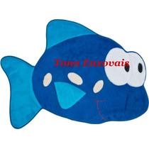 Tapete Infantil Peixe Peixinho Azul Royal 90x68 Em Pelúcia