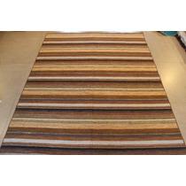 Tapete Indiano 2,50x2,00m 100% A Mão Listrado Em Lã Natural