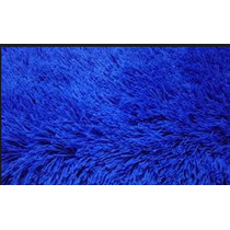 Tapete Azul Peludo Felpudo 4,0cm Sala Shaggy Luxo 2,4 X 2,0