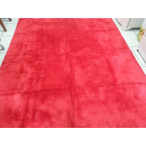 Tapetes Peludo 2cm Sala Shaggy Luxo 1,90x1,90, Vermelho