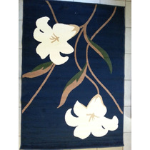 Tapete De Sala Persa 1.33 X 1.90 Desenho Tulipa Azul