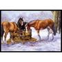 Cavalos Comendo Feno Na Neve Mat Interior Ou Exterior 24x36