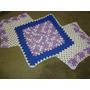 Tapete De Crochê Em Barbante Azul,lilás,cru 1 M Comprimento