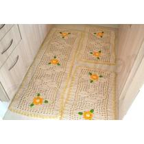 Jogo De Tapetes De Crochê Com Detalhe Em Amarelo