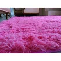 Tapete Tipo Croche Roza Quarto Felpudo Shaggy 2,00x2,40 4cm