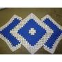 Tapete De Crochê Em Barbante Azul E Cru 90cm
