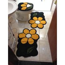 Jogo Tapete Decorado Banheiro 3 Peças Flor Frete Gratis