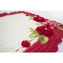 Tapete De Crochê Barbante Com Flores Vermelhas
